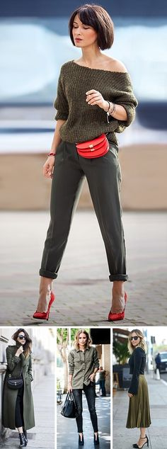 13 Styles to Wear a Khaki Sweater - Frisuren Site Look Fashion, Autumn Fashion, Girl Fashion, Fashion Outfits, Fashion Trends, Top Street Style, Spring Street Style, Womens Fashion Online, Latest Fashion For Women