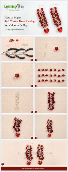 How to Make Red Cluster Drop Earrings for Valentine's Day