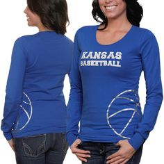 Ladies, shoot and score some flashy style points for the Jayhawks with this long sleeve tee! It features a Kansas Basketballa lettering printed across the chest and a large metallic basketball graphic printed at the bottom left side. Ita s a showy look thata ll earn you a slam dunk in KU fashion!