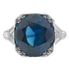 Art Deco Handmade Platinum Setting & Fine Blue Sapphire Ring