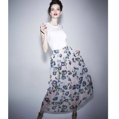 NWT Alberta Ferretti printed maxi skirt So cute and feminine! NWT sheer maxi skirt with cream mini lining. Beautiful floral print. In sad I never wore this but it's just a bit too small.. Give it a good home where it will see some love! Alberta Ferretti Skirts Maxi