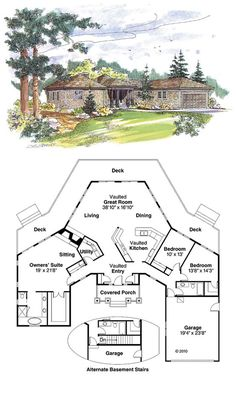 Shingle House Plan at Total living area 2292 sq ft 3 bedrooms 2 bathrooms Best House Plans, Country House Plans, Dream House Plans, Small House Plans, House Floor Plans, House Plans With Garage, The Plan, How To Plan, Casa Octagonal