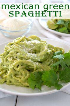 Chicken Spaghetti Recipes, Chicken Recipes, Green Spaghetti Sauce Recipe, Mexican Green Spaghetti Recipe, Green Chicken Recipe, Mexican Chicken Spaghetti, Carnitas, Barbacoa, Vegetarian Pasta Recipes