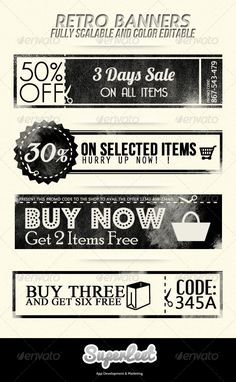Retro Banners - Banners & Ads Web Elements