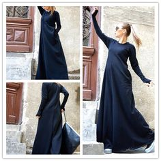 f1257a3c7f1 Blue Long Sleeves Round-neck Wide Leg Jumpsuits. oshoplive
