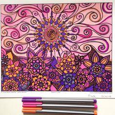Coloriage du week-end dernier, je pense enfin avoir trouvé comment utiliser mes Tombow 😊💐 #coloring #arttherapy #tombow #staedtler #adultcoloring #creationsjoellemercier #misspiloute