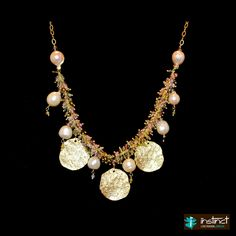 watermelon tourmaline ..hammered gold coins and pearls