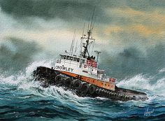 Tugboat Hunter Crowley by James Williamson - Tugboat Hunter Crowley Painting - Tugboat Hunter Crowley Fine Art Prints and Posters for Sale
