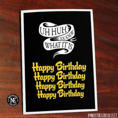 Great card for any Hip Hop / Rap fan.  This item is printed on scored textured card stock. The size of the card is 5 X 7 inches. Inside of card is blank. White envelope included.  Shipping for the card is: $2.00 Canada $3.00 USA $5.00 Worldwide