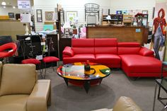 Global Red Leather Sectional & Picasso Coffee Table - Colleen's Classic Consignment, Las Vegas, NV - https://cccfurnishings.com