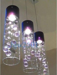 New Modern 3 Lights Glass Bubble Purple Crystal Ceiling Lighting Pendant Lamp