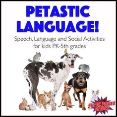 Petatastic Language - leveled language activities for Pre-K to grade CCSS levels! Speech Activities, Language Activities, Speech Language Pathology, Speech And Language, Online Posters, Figurative Language, Losing A Dog, Social Skills, Writing Prompts