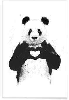 All You Need Is Love en Affiche premium par Balázs Solti   JUNIQE