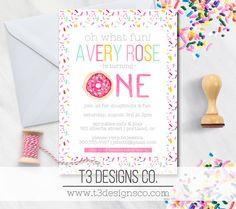 Hey, I found this really awesome Etsy listing at https://www.etsy.com/listing/242321612/donut-birthday-invitation-girl-birthday