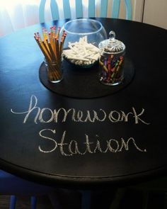 A chalkboard homework table. Instead of using scratch paper, they could use the table! Could do this in classroom too!
