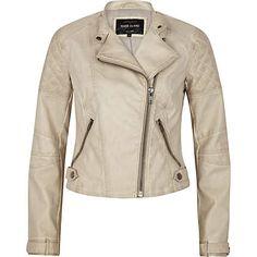 Womens Cream Leather Jacket - JacketIn