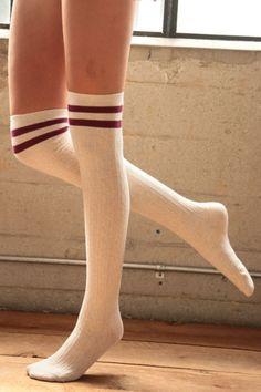 Varsity Striped Over the Knee Socks – Mocha/Black, Oatmeal/Burgundy or Black/Gold