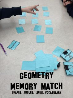 42 pairs of geometry memory match vocabulary cards, covers polygons, lines, types of angles and Latin and Greek roots. Great for center work or as an activity for those fast finishers.