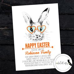Easter Invitation / Easter Brunch Invitation / Easter Egg Hunt / Invitation / Modern And Simple Easter Invitation / Hipster Easter Bunny by SoCalCrafty. Printed or Printable. $16+