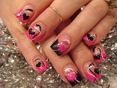 These are acrylic nails in shocking pink and black onyx with acrylic hearts. I used nail polish to paint the swirls. These nails have clay dots and conversation hearts. Pink Acrylic Nail Designs, Valentine's Day Nail Designs, Pink Acrylic Nails, Acrylic Nail Art, Pink Nails, Gel Nails, Bright Nails, Toenails, Heart Nail Art