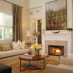 Artwork Above Tall Fireplace Design, , Decor and Ideas - Annette English Designer