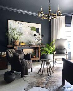 Home Remodeling Tools Living Room Decor, Living Spaces, Dining Room, Interior Decorating, Interior Design, Family Room Design, Black Walls, Gray Walls, Interior Exterior