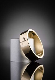 Gold Ogham Wedding Ring for Men | Claddagh Design