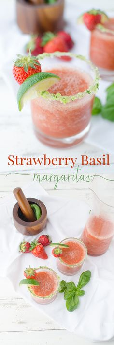 A fresh twist on a classic! Frozen Strawberry Basil Margaritas with Basil-Salt rim. Naturally sweetened!