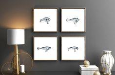 Fishing Hooks Set Of Four Prints Fish Hook Watercolor