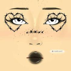 Grunge Makeup, Goth Makeup, Dark Makeup, Makeup Inspo, Asian Eye Makeup, Eye Makeup Art, Graphic Makeup, Makeup Face Charts, Makeup Drawing