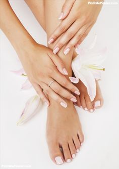 manicure pedicure with flower lily close up isolated on white poster #poster, #printmeposter, #mousepad, #tshirt