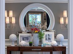 Entry ways  Need mirror and can use my two sconces on side of mirror.  Also need to find a table