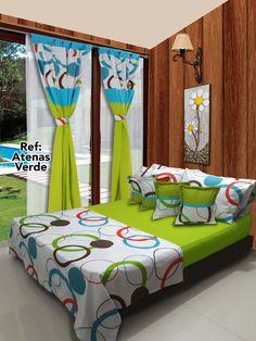 Ref: Atenas Verdes Disponible en cortinas, cojines, juegos de baño y sábanas en todas las medidas: Sencilla (1mx1.90m), Semi (1.20mx1.90m), Doble (1.40mx1.90m), Queen (1.60mx1.90m) y King. #Atenas #Dalotex #Lenceria #Hogar #Sabanas #Green #colors  #SabanasDalotex #Acolchado Bed Covers, Duvet Cover Sets, Valance Patterns, Bed Cover Design, Designer Bed Sheets, Home Design Living Room, Bedroom Decor For Couples, Colorful Curtains, Indian Home Decor