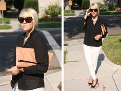Business Casual - Cami looks fab in these sunglasses, and I love the stark palette here. {dooce®}
