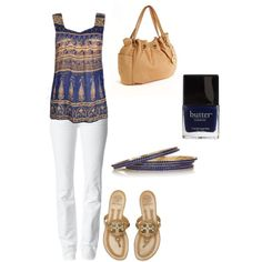 Navy and Gold with White Jeans