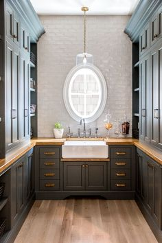 "Walk in Butlers Pantry. Butler's Pantry Backsplash: Tile Bar – Lancaster Dove. Walk in Butlers Pantry painted in ""Farrow and Ball Down Pipe"". Prep Kitchen, Kitchen And Bath, Kitchen Decor, Rustic Kitchen, Küchen Design, House Design, Design Ideas, Interior Design, Interior Decorating"