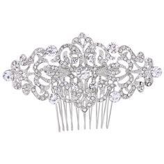 Un joli bijou de coiffure de mariée sobre et raffiné à la fois avec son motif arabesque parsemé de cristaux clairs de différentes tailles.