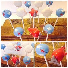 Vintage airplane inspired cake pops by Kim's Sweet Karma. https://www.facebook.com/Kimssweetkarma