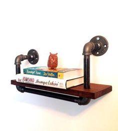 DIY Repurposed pipe and wood bookshelf