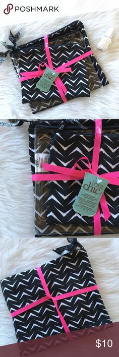 Set of three makeup bags Cute cosmetic bag set, two are black and white print and one is clear. Brand new! Bags Cosmetic Bags & Cases