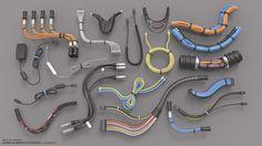 Hard Surface Kitbash Library - Cables/Hoses/Tubes, Mark Van Haitsma on ArtStation at https://www.artstation.com/artwork/1bg8q
