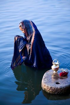 =offering + woman + blue + india + Water