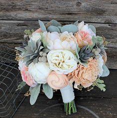 Keepsake Bridal Bouquet - Faux Succulents, Silk Flowers, Peonies, Cottage Roses, Sola Flowers, Lambs Ear, Dusty Miller Silver Brunia Wedding