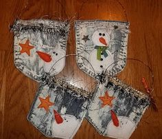 The Missing Piece: Gifting Pockets from recycled blue jeans Christmas Snowman, Winter Christmas, Christmas Holidays, Christmas Decorations, Christmas Ornaments, Christmas Projects, Holiday Crafts, Craft Gifts, Diy Gifts