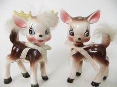 Commodore Deer Salt and Pepper Shakers, Fur Tails, Pink and Blue Bows, Doe and Buck, Kitschy Cute De