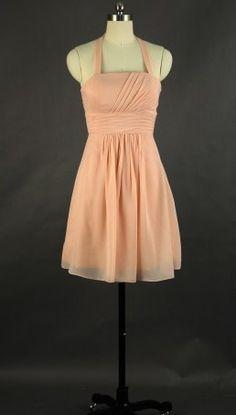 A-line Halter Mini Chiffon Bridesmaid Dress