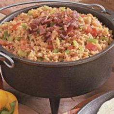Spanish Rice with Bacon. Yum's Up! from Lodge. Camp Dutch Ovens are super for preparing countless recipes!