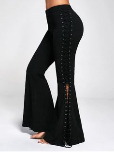 Flare Pants with Criss Cross Lace Up - Black Xl Criss-Cross Mid Fashion Pants, Fashion Outfits, Womens Fashion, Sammy Dress, Flare Pants, Diy Clothes, Pants For Women, Cute Outfits, Criss Cross