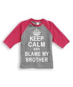 Look at this #zulilyfind! Hot Pink & Heather Gray 'Keep Calm' Raglan Tee - Toddler & Kids #zulilyfinds