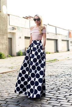 7.15 dottie (Nicholas mesh off-shoulder top + Eliza J pleated dot print ball skirt + Stuart Weitzman heels + Karen Walker sunnies)